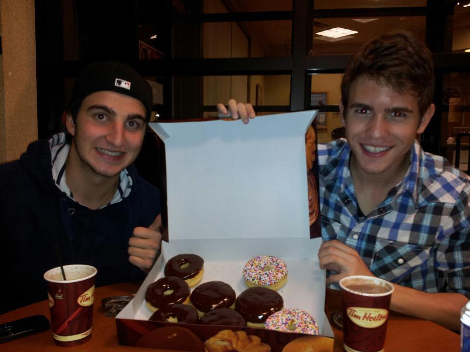 Enjoying-Tim-Hortons-donuts