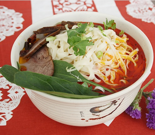Happy Veal Hot Pot Noodle Soup with Beef and Chinese Green